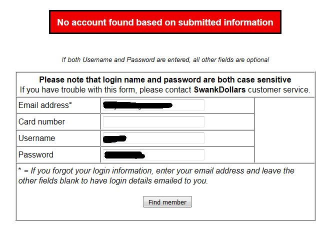 No account found based on submitted information