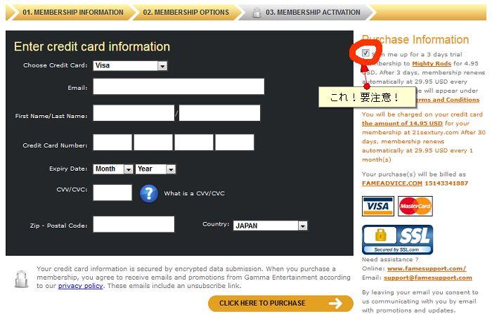 21Sexturyカード情報入力画面