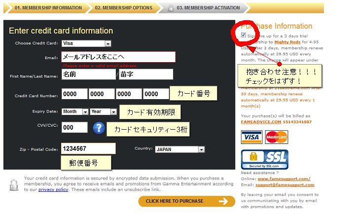 21Sextremeカード情報入力